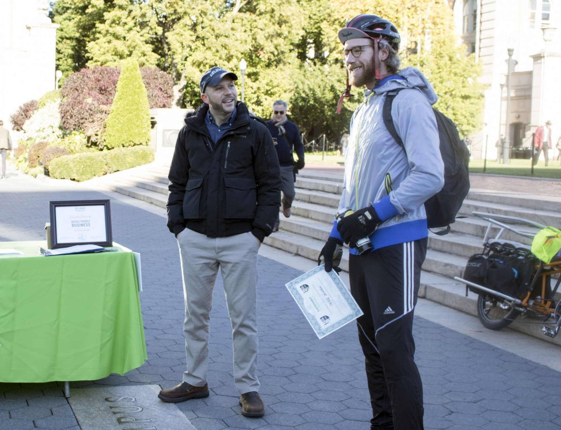 Peter Deneen talks about his bike commute after receiving a Sustainable Commuter award at the 2018 Bike Recognition Breakfast