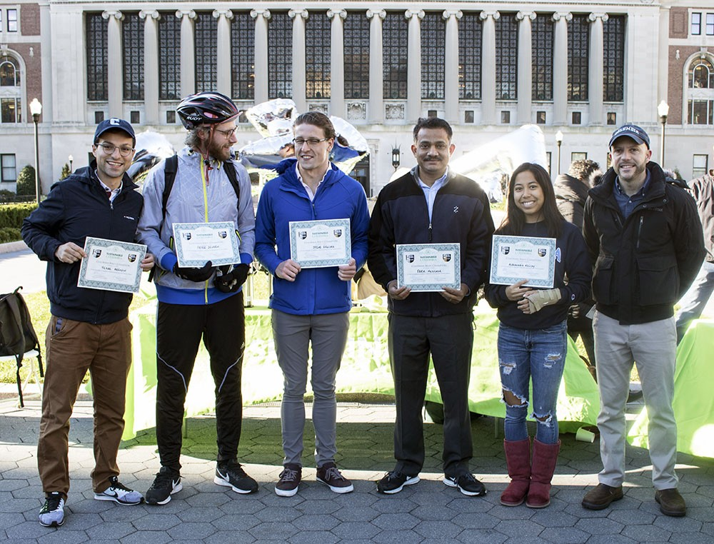 Sustainable commuters were celebrated at the 2nd Annual Bike Champions Recognition Breakfast on October 25, 2018 on College Walk at the Morningside campus.