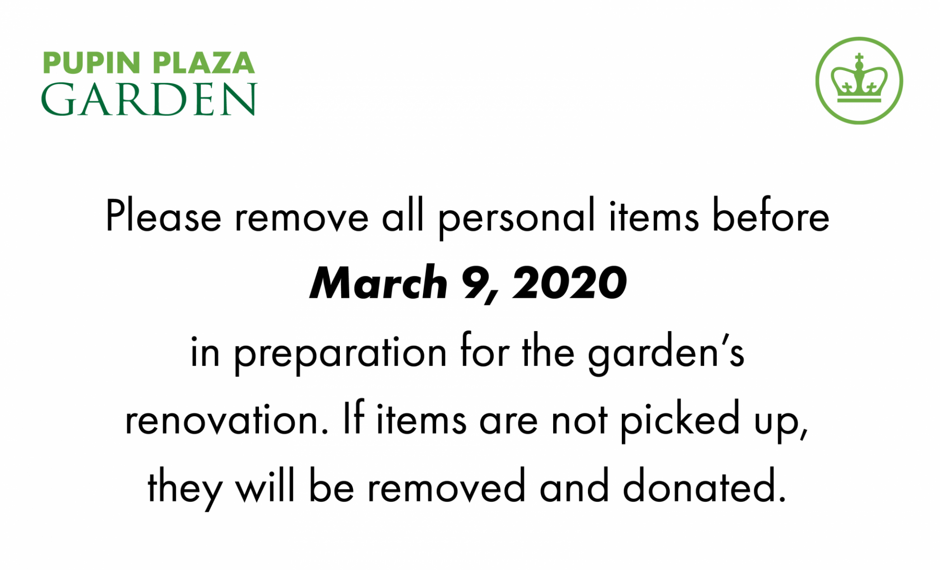 Pupin Plaza Garden notice March 9