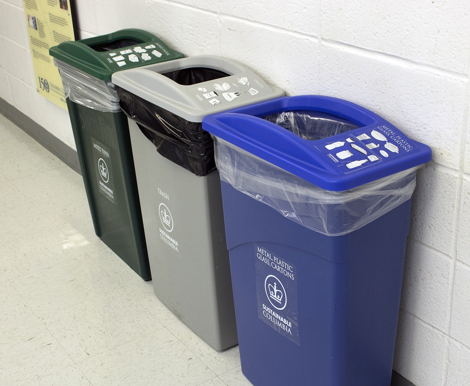 New recycling bin signage in Mudd Hall
